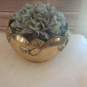Brass bowl planter with vine & flower pattern